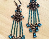 Chainmaille Chandelier Earrings, Teal Green Blue Chandelier Earrings, Chandelier Earrings, Gunmetal Chainmail Earrings, Long Beaded Earrings