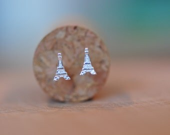 Itty Bitty Tiny Eiffel Tower Stud Earrings in Sterling Silver 925 / Paris Bound Studs in Sterling Silver 925