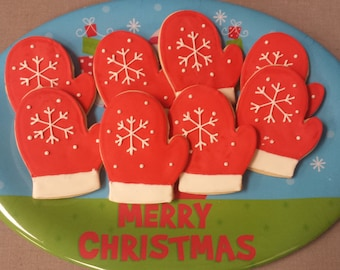 Mitten shaped sugar cookies, 1 dozen