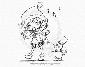 Me and My Snowman - Christmas DIGITAL STAMP Instant Download