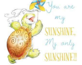 Watercolor Nursery Art.  Turtle Quote Art  - Watercolor GicleePrint, Original Artwork, Nursery Wall Art