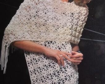 Womens crochet stole pattern vintage crochet pattern stole shawl pdf INSTANT download pattern only pdf 1960s wrap