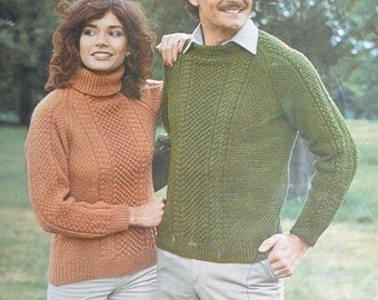 Womens mens aran cable sweater pdf jumper vintage knitting pattern INSTANT download pattern only 34 - 44 inches