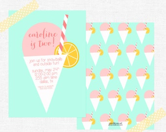 Snowball Birthday Party Invitations-FREE SHIPPING or DIY printable