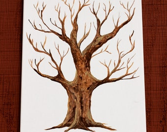 Hand Painted Thumbprint tree guestbook - blank canvas wedding or  shower guestbook for guests' thumb prints and signatures, family tree