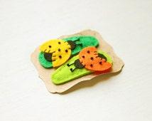Felt hair clip - ladybug hair clip - yellow ladybug