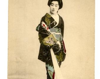 Japanese Geisha Victorian Postcard Hand Tinted 1900s Silk Kimono Japan Woman