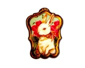 White Royal Rabbit / Bunny With a Bow surrounded with Flowers / Fabulous Colorful Unique Statement Animal Fabric Brooch / Pin Gift Souvenir