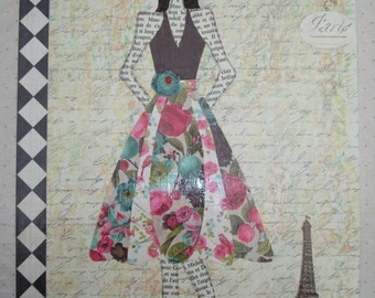 French Country Fashion Collage Art