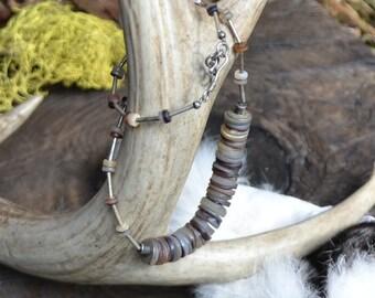 Sterling silver vintage necklace, sterling silver necklace, sterling silver and shell beads necklace, vintage sterling silver necklace