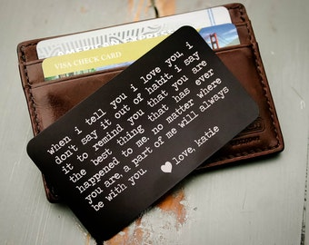 Metal Wallet Insert, Custom Wallet Card, Engraved Wallet Card, Valentines, Anniversary, Wedding Day Gift, Groom's Gift for Him, Father's Day