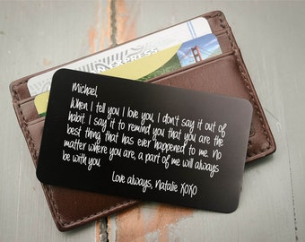 Gift for Him, Wallet Card, Wallet Insert: Deployment Gift, Valentine Gift for Men, Groom's Anniversary Gift, Wedding Vows, Stocking Stuffer