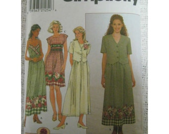 SIMPLICITY Women's Dress spaghetti strap Sz. 12-16 SEWING PATTERN 8007