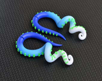 Octopus Plugs or Octopus Fake Plugs, Earrings for Stretched Lobes or Fake Gauges, Tentacle Plugs, Fake Ear, Octopus Earrings