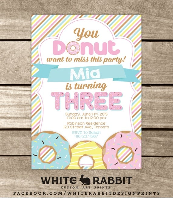 Donut Birthday Invitation Donut Invite Sweet Treats