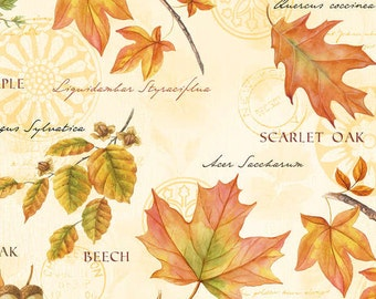 Botanical Fall Leaves Fabric -Fall Festival-Wilmington-Fall Fabric-Botanical Leaves and Acorn Fabric-Fall Quilt Fabric-Thanksgiving Fabric.