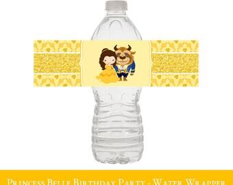 Belle Water Bottle Wrapper, Belle Birthday Water Bottle, Belle Water Label, Belle Party Decorations