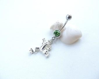 Frog Belly Button Ring You Choose Color, Belly Button Jewelry, Navel Piercing, 14g Curved Barbell, Jeweled Navel Ring, Gift Idea. 477