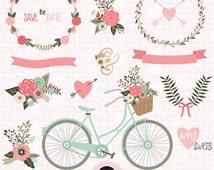 "Wedding Invitation Clipart ""WEDDING CLIP ART"",Floral Bicycle,Banner,Vintage Flowers,Laurel,Flower Basket,Wedding Wreath,Wedding BicycleWf067"