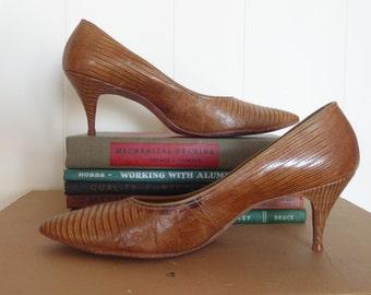 1950's Jacqueline Snake Skin Spike High Heels Size 8