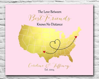 Gift for Best Friends Long Distance BFF - 8x10 Custom Map, Pink and Gold Foil Print, Sister, Farewell, Personalized Birthday Sister U.S. Map