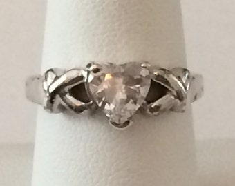 Size 8 Sterling Silver And Heart Rhinestone Ring