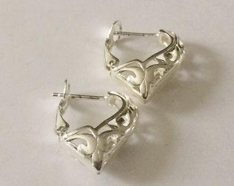 Sterling Silver Filigree Heart Earrings