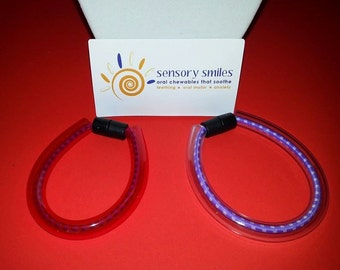 Chew tube bracelet for those with oral sensory needs.