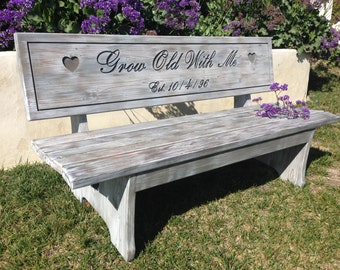 Anniversary Bench - Custom Engraved Bench Whitewash Stain