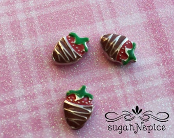 Chocolate Strawberry Floating Charm - Chocolate Strawberry Memory Charm - Chocolate Floating Locket Charm -  Strawberry Memory Charm