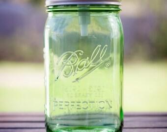 Quart Mason Jar Soap Dispenser  - Clear/Blue/Green/Purple - Stainless Steel Pump