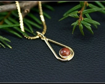 Gold teardrop pendant with pink wood, Gold necklace pendant, Gold necklace wood, Gold teardrop, Unique wood gift, Handmade, Fine woodworking