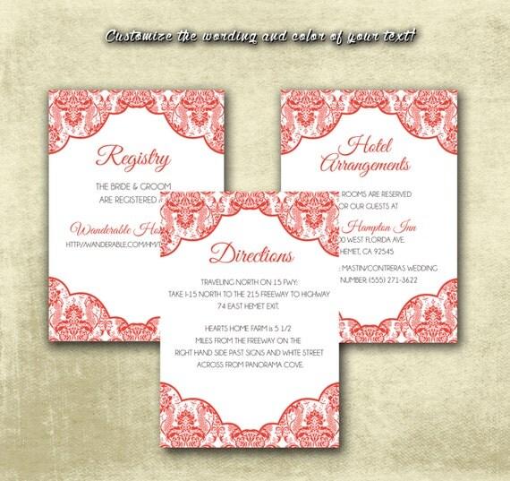 DIY Printable Wedding Enclosure Cards Traditional Elegant