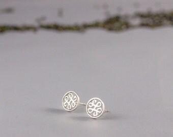 Silver Logo Earrings, Custom Logo Earrings, Silver Logo Round Charm Earrings, Logo Earrings Custom, Logo Art Earrings,Personalized Ear Studs