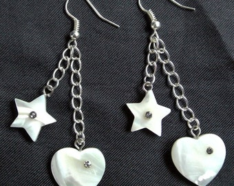 Heart and Star Mother of Pearl Gemstone Drop / Dangle Earrings