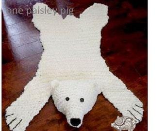 "Polar Bear ""Skein"" Rug with Stuffed or Flat Head - PDF CROCHET PATTERN"