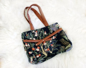 Vintage Floral Greenery Fern Nature Tote with Straps