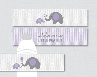 Elephant Water Bottle Labels Baby Shower Printable - Purple and Gray Elephant - Welcome Little Peanut - Instant Download - 0024-R