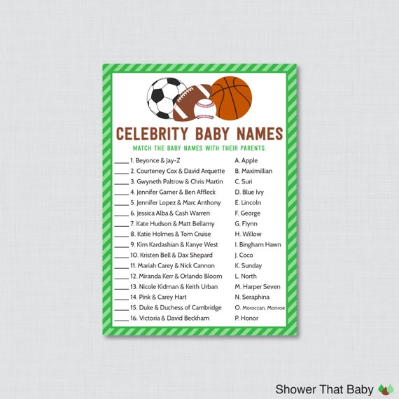 sports themed baby shower celebrity baby names game printable