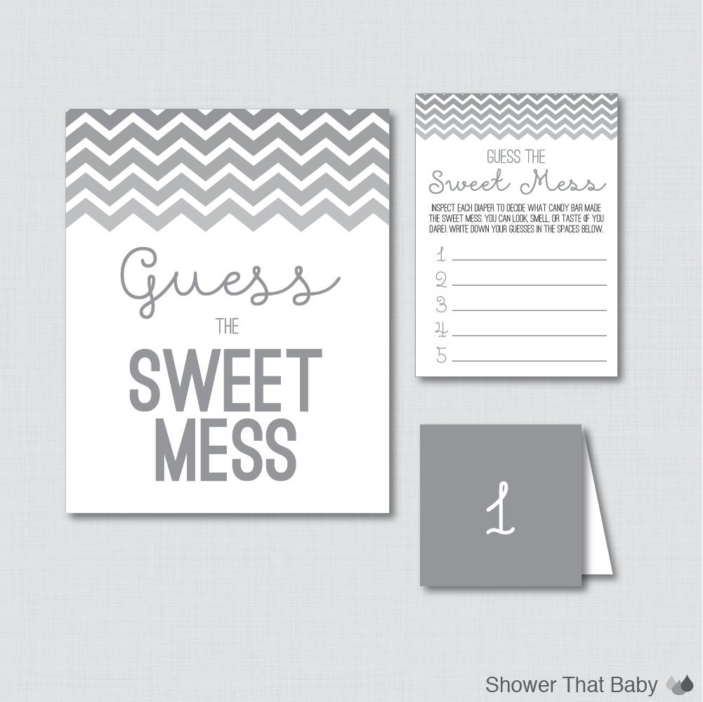Sweet Sweet Baby Baby Shower Game: Gray Baby Shower Diaper Candy Bar Game Printable Guess The