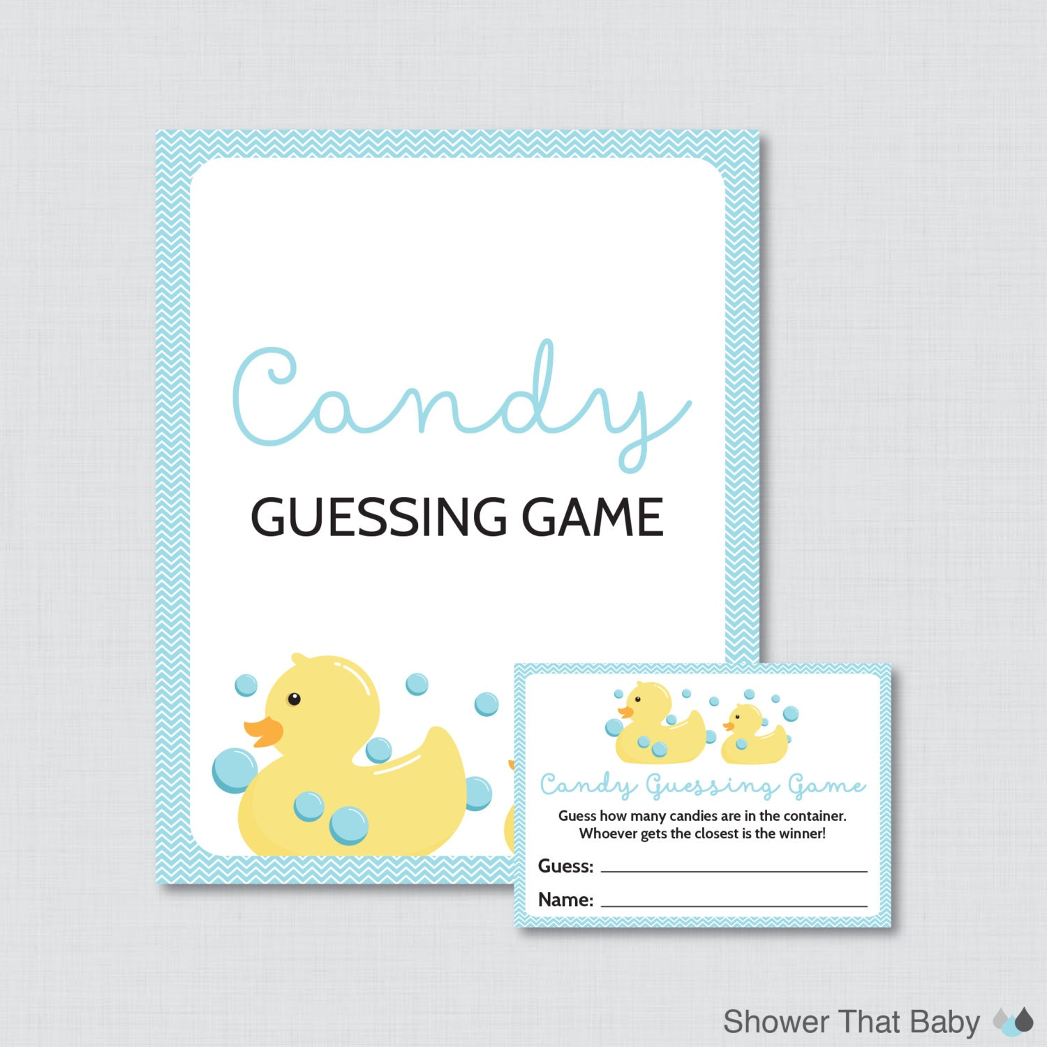 rubber ducky baby shower candy guessing game printable guess