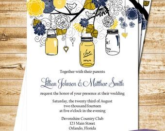 Mason Jar Wedding Invitation - Yellow and Navy Mason Jar Wedding Invite - Rustic Wedding Invitation Wedding - 6021 PRINTABLE