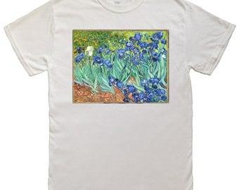 "Van Gogh, ""Irises"", Men's T-shirt, FREE SHIPPING"