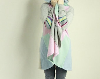 Pastel Recycled Sweaters Unique Coat Pure Wool Blend Coolawoola Cosy Cloak