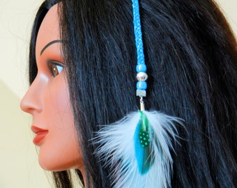 Clip-in Feather - Neon Metallic Blue Hair Braid with neon blue & white feathers