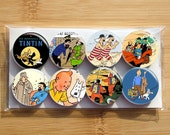 Tintin Magnets, Snowy, Captain Haddock  - Set of 8 magnets - 1 inch each - wrapped in cello bag - Strong magnets