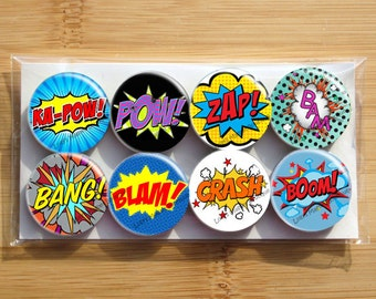 Superheroes WAM BAM POW Comics Magnets - Set of 8 magnets - 1 inch each - wrapped in cellophane bag - Strong magnets