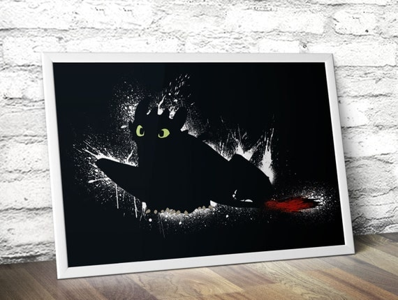 How To Train Your Dragon Movie Poster - Toothless Inspired Paint Illustration - A3 Home Decor Print