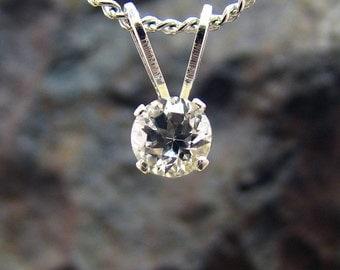 Small white topaz pendant, white topaz pendant, tiny pendant 4 mm, tiny necklace, small pendent, topaz pendant