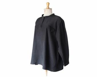 1950s oversized blouse, 50s French vintage black loose shirt, fluid minimalist classy top, plus size S M L